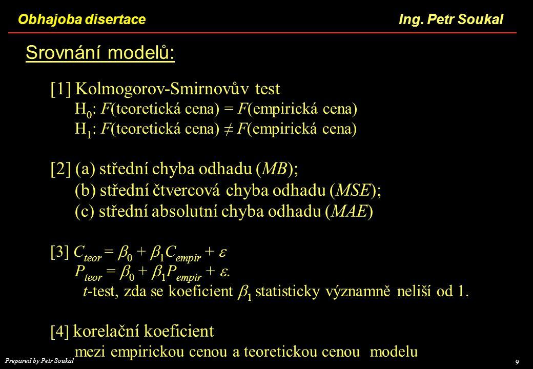 Srovnání modelů: [1] Kolmogorov-Smirnovův test